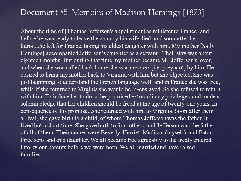 Document #5 Memoirs of Madison Hemings [1873]